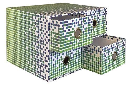 Idena 31065 - Schubladenbox FSC-Rec, Graphic, mit 4 Schubladen, 25,5 x 21 x 17 cm
