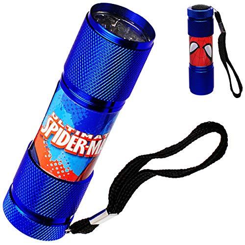 alles-meine.de GmbH 4 Stück _ Taschenlampen LED - Spider-Man - aus Metall - Mini Lampe / Schlüsselanhänger - 9 Fach LEDlicht - Licht Auto Kindertaschenlampe für Jungen - Metallta.. -