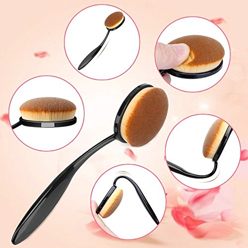 KEDSUM 10PCS Professional Oval Makeup Brush Set,Soft Oval Brushes with Travel Bag,Makeup Brushes,Toothbrush Make up Brush for Foundation,Concealer,Blending Liquid,Powder,BB Cream,Blush,Contour