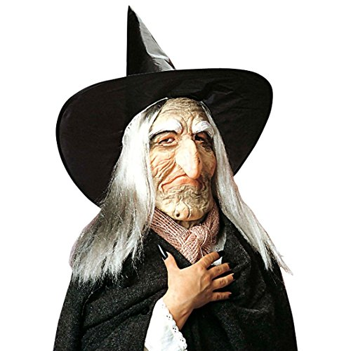 Hexenmaske mit Hut Haar und runzligem Gesicht Alte Zauberin Maske Witch Gesichtsmaske mit Perücke und Spitzhut Walpurgis Magierin Latexmaske Runzelige Hexe Karnevalsmaske Halloween Kostüm Zubehör