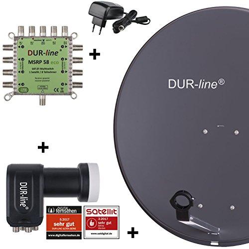 DUR-line MDA 80 Anthrazit - Digitale 8 Teilnehmer Satellitenschüssel Komplett-Anlage mit premium Multischalter und LNB [Camping, Astra 19,2°, DVB-S/S2, Full HD, 4K, 3D]
