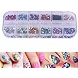 Fancyku 12 Color 3D Nail Art Rhinestone Colorful Diamond Confetti Mixed Size Manicure Nail Art Decoration