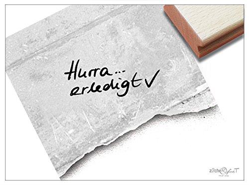 Stempel - Textstempel HURRA...ERLEDIGT handschriftlich mit Häkchen - Schriftstempel für Notizen Mitteilungen Hinweise Karten Deko - von zAcheR-fineT