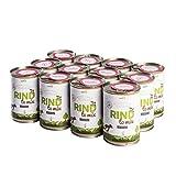naftie Bio Hundefutter RIND to Mix 12 x 400g Dose Nassfutter 100% Rind-Fleisch Ergänzungsfutter für Hunde glutenfrei getreidefrei (12 x 400g)