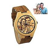 Personalisierte Gravur Holz Uhr mit Foto oder Text für Groomsmen Geschenk Jahrestag Hochzeitsgeschenk