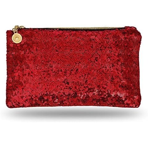 Lady Donovan - bolso de noche Noble para damas y niñas - clutch bolsa con cierre de cremallera - ideal para una fiesta o una boda - reluciente -