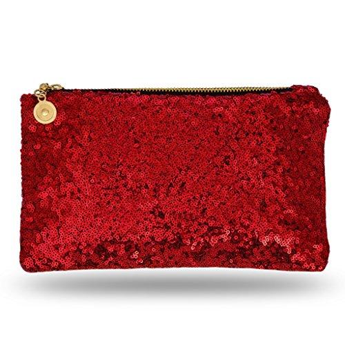 Lady Donovan - Clutch - Edle Abendtasche für Damen und Mädchen - Portemonnaie mit Reißverschluß - ideal für die Party oder Hochzeit - glitzernd - Rot