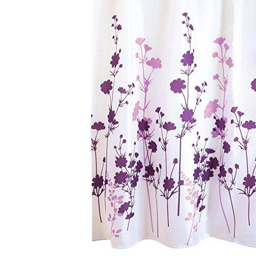 WOMETO Duschvorhang 180x200 cm Blumen lila Textil, hochwertige Qualität, - Lila Duschvorhang