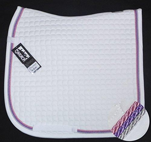 ESKADRON Cotton Schabracke weiß, 3fach Kordel silber,lavender,rose, Form:Dressur