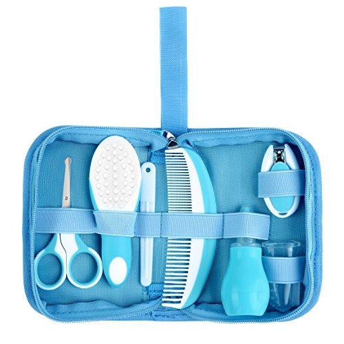 Babypflege Set – IntiPal 7-teiliges Set für Baby Alltag Pflege mit Etui BPA Frei (Blau mit Tasche) - 2