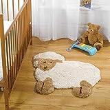 Snuggly Super Weich Waschbar Rutschfest Mikrofaser Kinder Teppiche entworfen in Großbritannien, Polyester, Little Lamb, 75x80cm