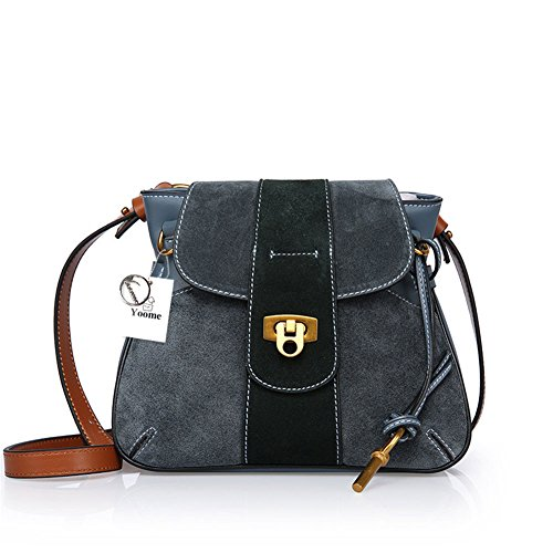 Borsa a tracolla Yoome in pelle nabuk per borsa da donna Borsa a tracolla vintage Borsa in pelle di vacchetta - Marrone Blu