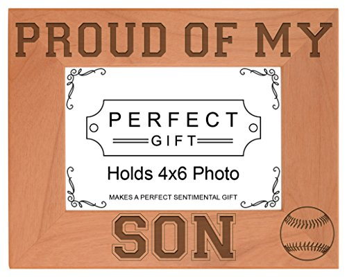 Baseball Player Geschenk Stolz von Sohn natürliches Holz Gravur Bilderrahmen, holz, holz, 4x6 Horizontal -