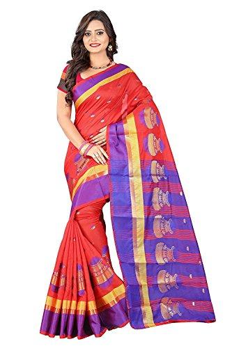 Sarees Designer Women's Cotton Silk Saree with Blouse piece(Matka Red)