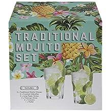 Ardisle Mojito-Cocktail-Maker-Kit-Geschenk-Set 2 Gläser Stampfer Mixer DIY Cocktailschirmchen Strohhalme