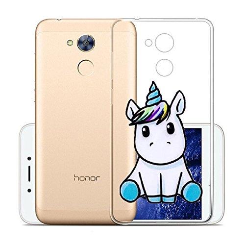 Wenjie Hülle für Huawei Honor 6A Cover Transparent Nettes Einhorn Silikon Mode Handyhülle Schale Tasche SchutzHülle für Huawei Honor 6A