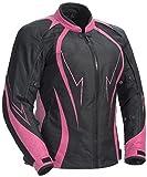 Juicy Trendz Damen Motorradjacke Frauen Wasserdicht Cordura Textil Motorrad Jacke Pink Large