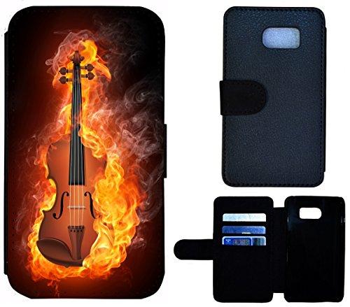 Flip Cover Schutz Hülle Handy Tasche Etui Case für (Apple iPhone 4 / 4s, 1576 Sterne Schwarz Blau Neon) 1572 Geige Violine im Feuer Abstract