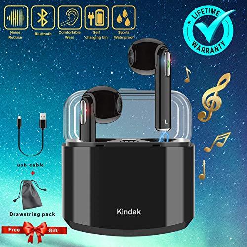 5ee050b18f2 Kindak Inalámbricos Auriculares Bluetooth,Wireless In-Ear Cascos Earbuds  con Micrófonos Manos Libres Headset