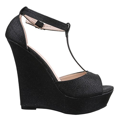 Ital-Design Damen Schuhe, B2554K-SP, Sandaletten Keil Wedges Plateau Pumps Schwarz
