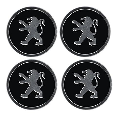 Aufkleber-Set mit Peugeot-Emblem, für Felgendeckel, Radstern, Raddeckel, Radzierblenden, 4