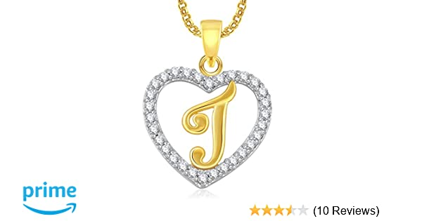 915f3ef9e8e Buy Meenaz  J  Letter Heart With Chain Gold Plated In American Diamond  Pendant Locket Alphabet For Women And Men Cz Ps403 Online at Low Prices in  India ...