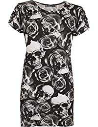 WearAll New Womens Plus Print Baggy Oversized Short Sleeve Long T-Shirt Ladies Top - 16-26