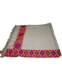 Genuine Hand Woven and Crafted Kullu Wool Shawl- Pashmina Colored with Beautiful Hand Made Fine Embroidery for Women and Girls.