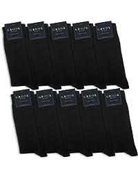 Grook & Cain - 10 paires de chaussettes Premium Classic - en coton/style habillé/certifié Oekotex - pour homme/femme - noir - pointures 35 à 50