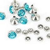 10mm Diamant NIET BOLZEN FÜR Leder Basteln mit bunt Acryl Strass - perfekt für Riemen, Taschen oder Hundehalsband von Trimming Shop (Packung von 50) - Türkis, 10mm