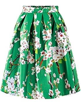LINNUO Mujeres Cintura Alta Faldas Plisadas Una Línea Rodilla Faldas Mode Midi Lenth