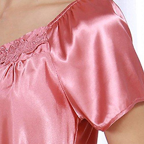 WanYang Donna Sexy Cinghia Di Spaghetti Camicia Da Notte Classic Semplice In Raso Set Rosa pallido grigio