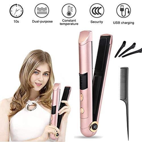 Alisadores de pelo inalámbricos recargables, alisador de cabello portátil y rizador, pantalla LCD digital + temperatura ajustable + apagado automático para todos los tipos de cabello