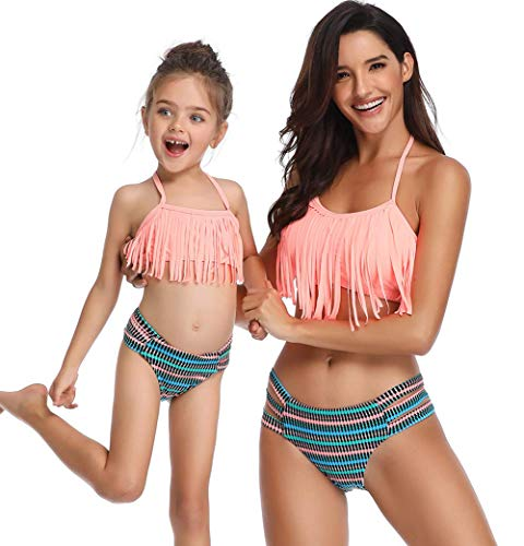 770c03543d0 Women Sexy Lace Up Bandage Fringe Padded Bikini Baby Girl Two Pieces  Swimsuit Bathing Suit Family