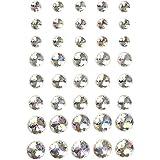 Diamanti sintetici, misura 6+8+10 mm, cristallo, Skagen, 40asst.
