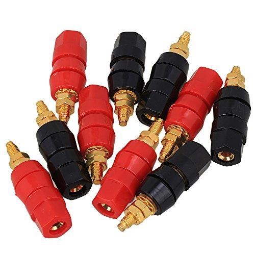 BQLZR 10 Pezzi Connettori Cavo Altoparlante Amplificatore Audio Terminale Per 4mm Nero