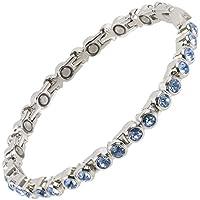 Preisvergleich für sisto-x ® Damen Magnetisch Tennis-Stil Armband hellblau Kristalle Gesundheit 16Magnete