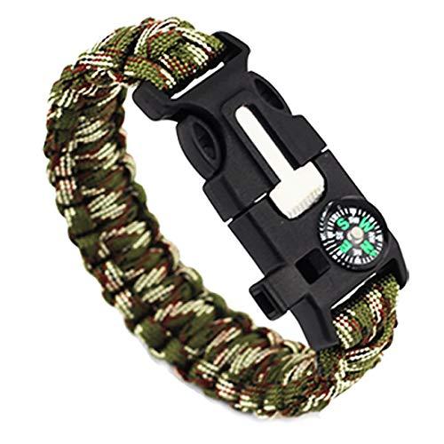 Pentaton Outdoor Survival Armband aus Paracord, Feuerstahl, Pfeife, Kompass, Messer, Seil, 5 in 1 Multifunktionales Tool (1 Stück)
