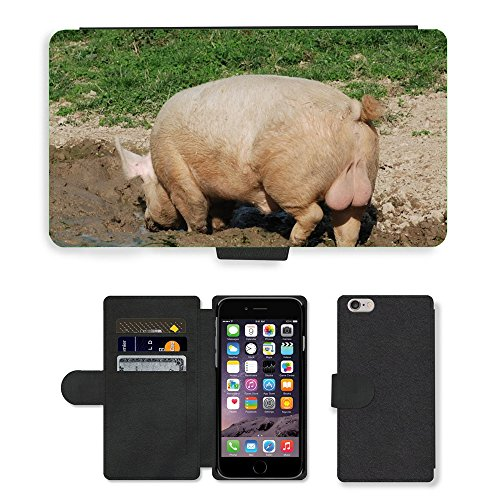 Just Mobile pour Hot Style Téléphone portable étui portefeuille en cuir PU avec fente pour carte//m00138472Cochons Mammifère semer Happy Pig Animaux//Apple iPhone 6Plus 14cm
