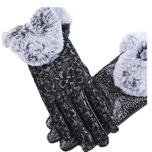 Handschuhe Damen Longra Frauen Mädchen Winter Handschuhe Super Warm PU Leder Driving Soft Futter Elegant Handschuhe (Black)