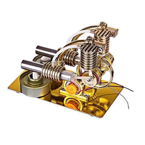 ZUJI Stirlingmotor Bausatz Doppelzylinder Motor Stirling Engine Kit mit Birne Micro DIY Modell Kit Lehrreich Physik Spielzeug