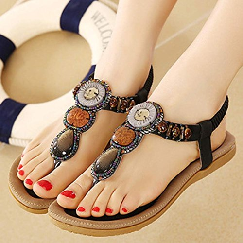 HCFKJ 2017 Mode Frauen Sommer Sandalen Flach Fashion Sandalen Komfort Ladies Shoes Schwarz XEOWqSnF