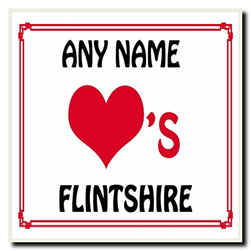 Love Heart Flintshire Personalised Coaster