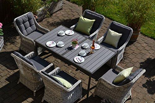 bomey Rattan Lounge Set I Gartenmöbel Set Como-XL 7-Teilig I Essgarnitur mit Polstern I Sitzgruppe Grau + Tisch Ausziehbar + Polster Grau I Dining Lounge für Terrasse + Wintergarten