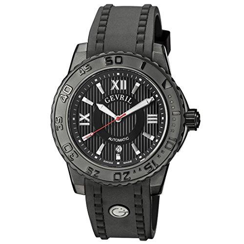 Gevril seacloud para hombre Swiss automático negro correa de caucho reloj, (modelo: 3110)