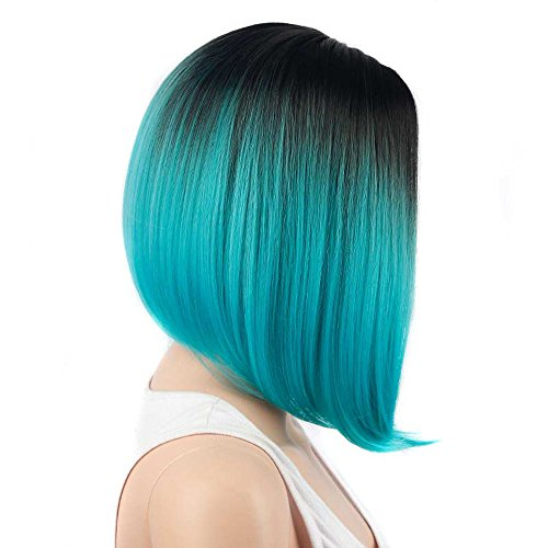 ke Lockige Frauen Lang Haar Wig Dunkelbraun FüR Karneval Oder Cosplay Party Fasching KostüM Ombre Haarteil Frauen Arbeiten Dame Gradient Short Straight Hair Cosplay Party PerüCke ()