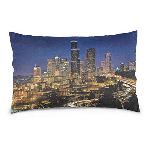 Josid Fundas de Almohada de Doble Cara Skyline Downtown Seattle Cityscape Urban...