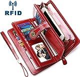 Best RFID Portefeuilles - Faneam Portefeuille Femme Cuir Grand Portefeuille Femmes RFID Review