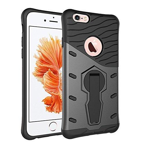 Schutzhülle für iphone 6S (4.7 Zoll), Grau Hybrid Handy Schutzhülle Tasche Dual Layer aus Hart PC und Silikon Armor Case Ständer Schale Tasche für Apple iphone 6 / 6S 4.7'' Smartphone