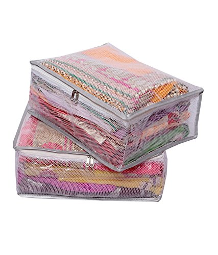 Kuber Industries™ Heavy Transparent Net Saree Cover Set of 2 Pcs